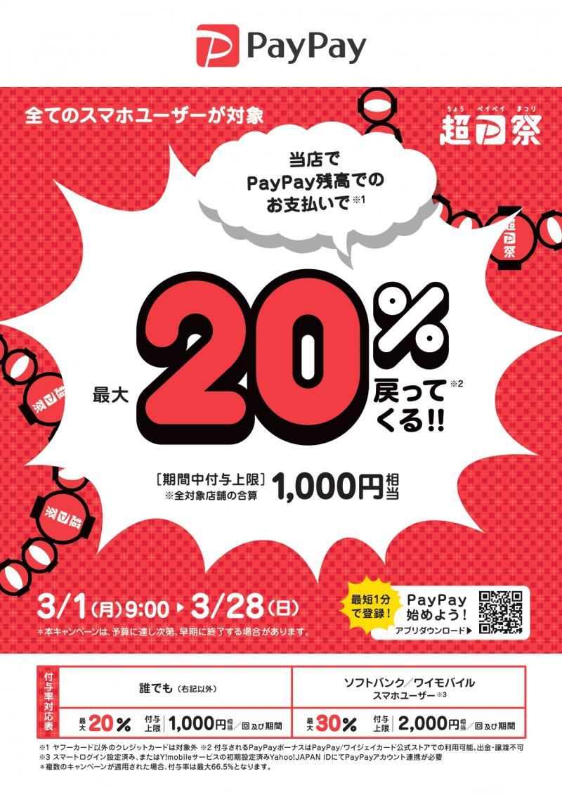 【ポスターデータ】超PayPay祭 最大1,000円相当 20戻ってくるキャンペーン_page-0001